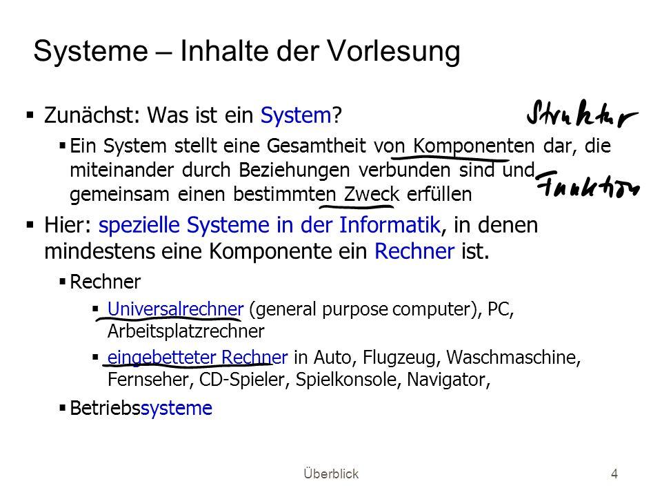 Überblick4 Systeme – Inhalte der Vorlesung Zunächst: Was ist ein System? Ein System stellt eine Gesamtheit von Komponenten dar, die miteinander durch