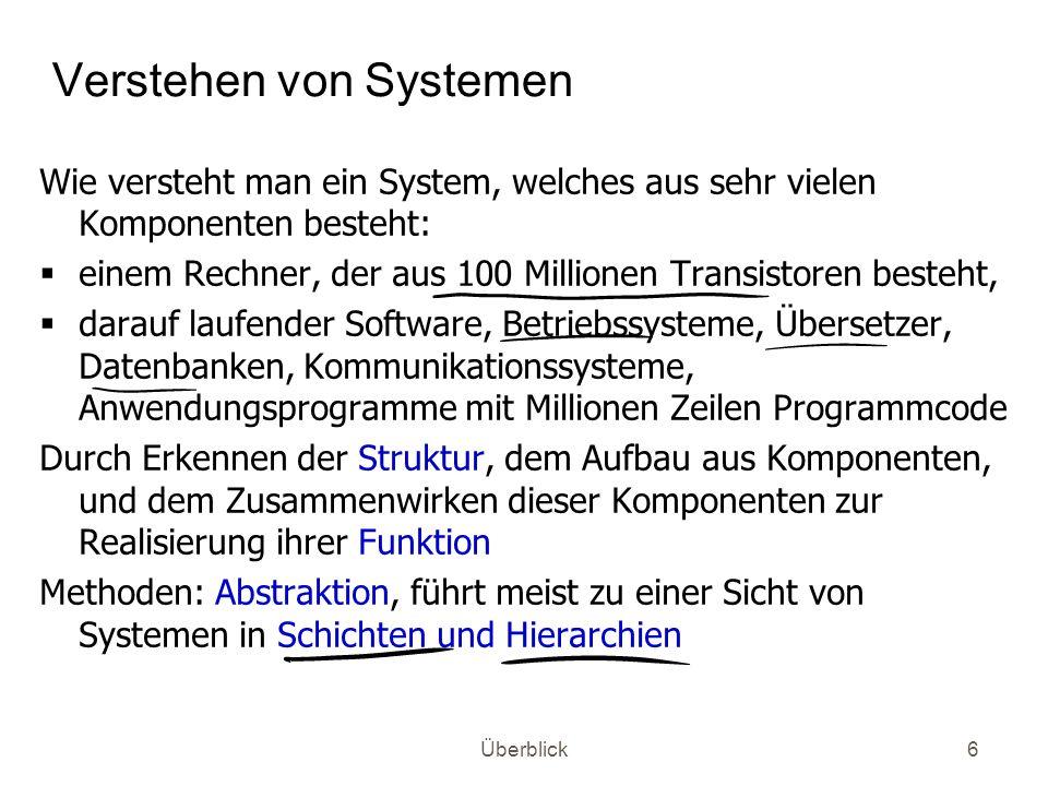 Überblick6 Verstehen von Systemen Wie versteht man ein System, welches aus sehr vielen Komponenten besteht: einem Rechner, der aus 100 Millionen Trans