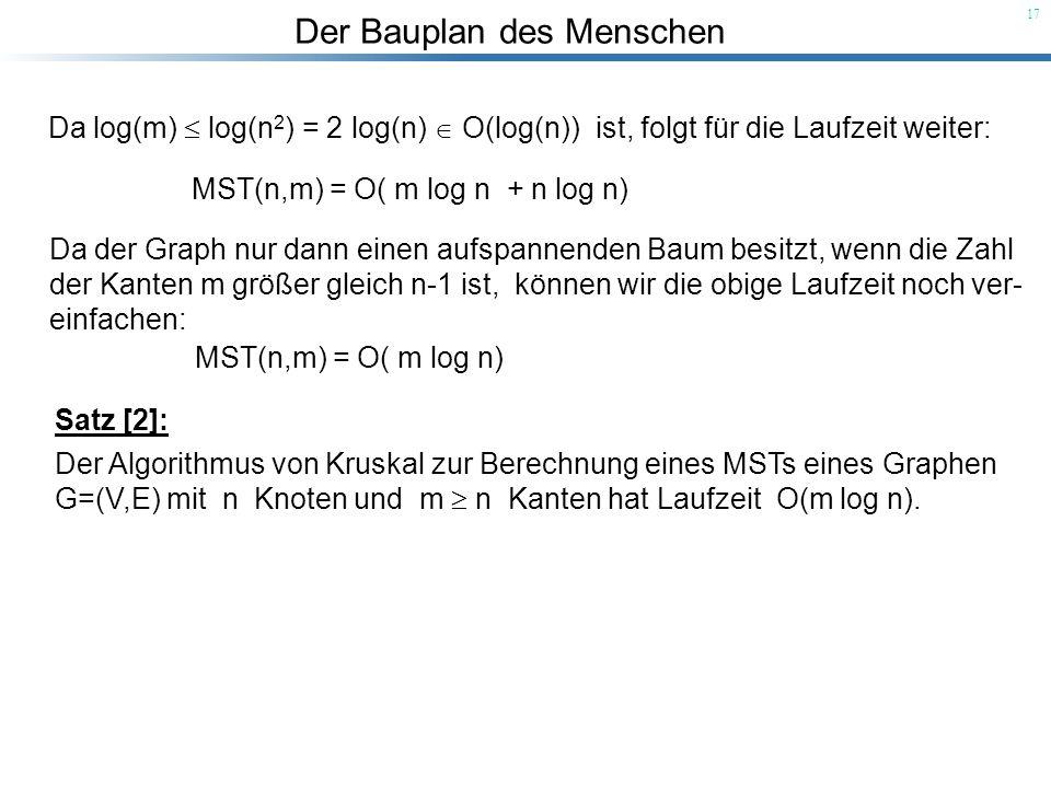 Der Bauplan des Menschen 17 Da log(m) log(n 2 ) = 2 log(n) O(log(n)) ist, folgt für die Laufzeit weiter: Da der Graph nur dann einen aufspannenden Bau