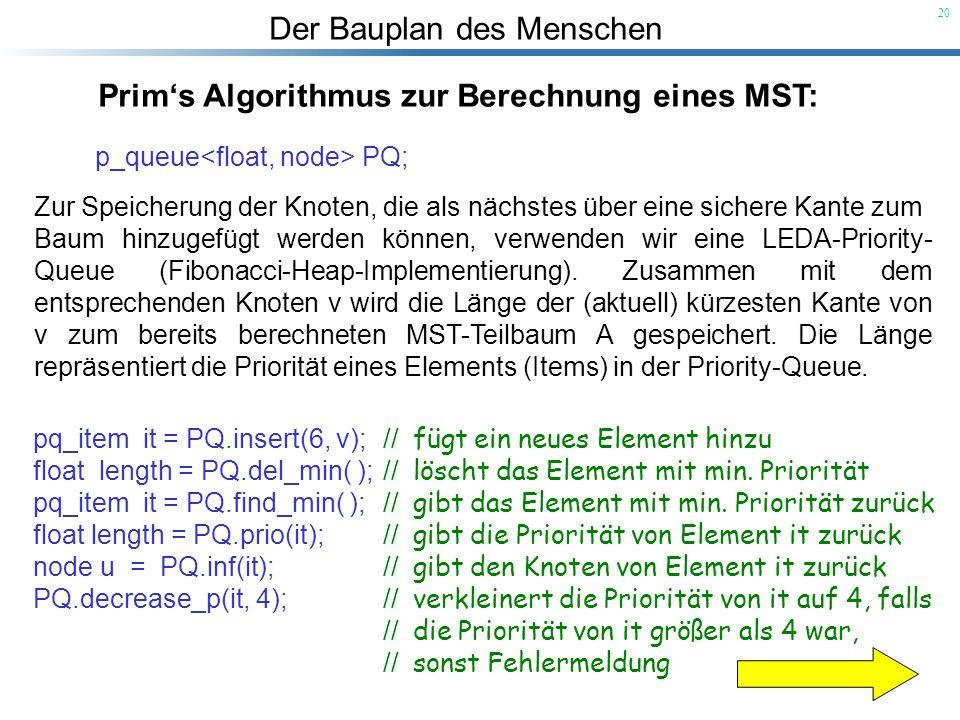 Der Bauplan des Menschen 20 Prims Algorithmus zur Berechnung eines MST: p_queue PQ; Zur Speicherung der Knoten, die als nächstes über eine sichere Kan