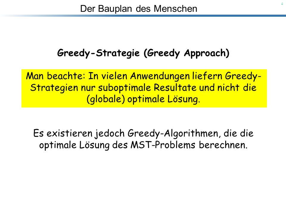 Der Bauplan des Menschen 4 Greedy-Strategie (Greedy Approach) Man beachte: In vielen Anwendungen liefern Greedy- Strategien nur suboptimale Resultate