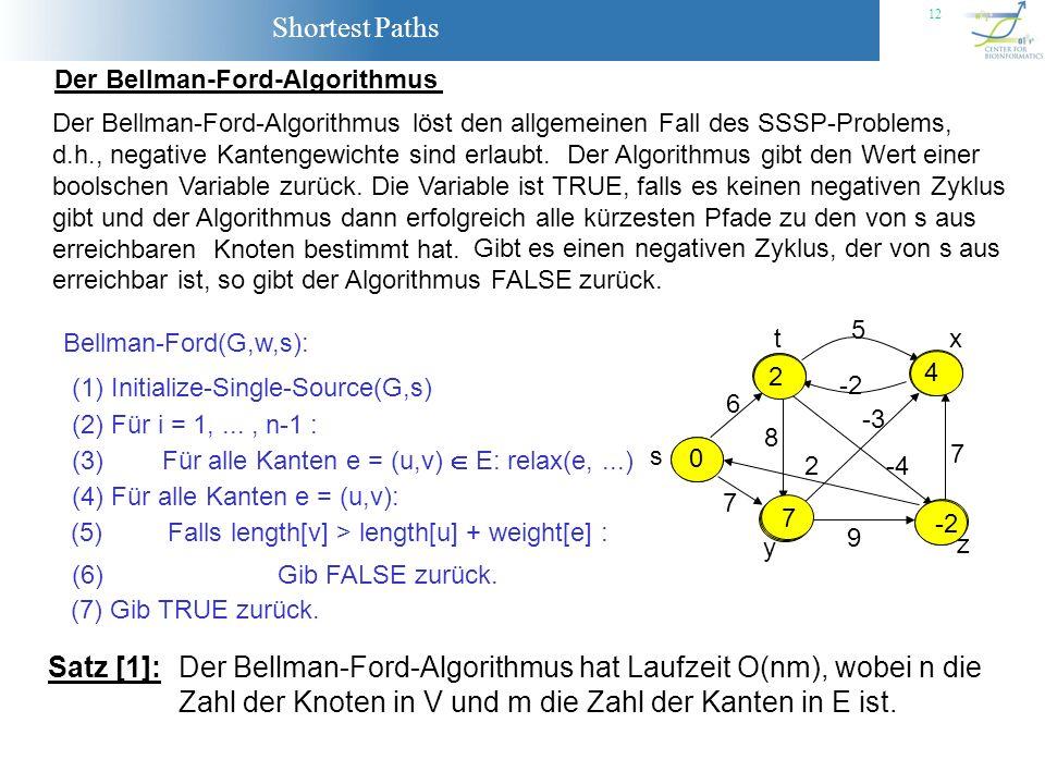 Shortest Paths 12 Der Bellman-Ford-Algorithmus Der Bellman-Ford-Algorithmus löst den allgemeinen Fall des SSSP-Problems, d.h., negative Kantengewichte