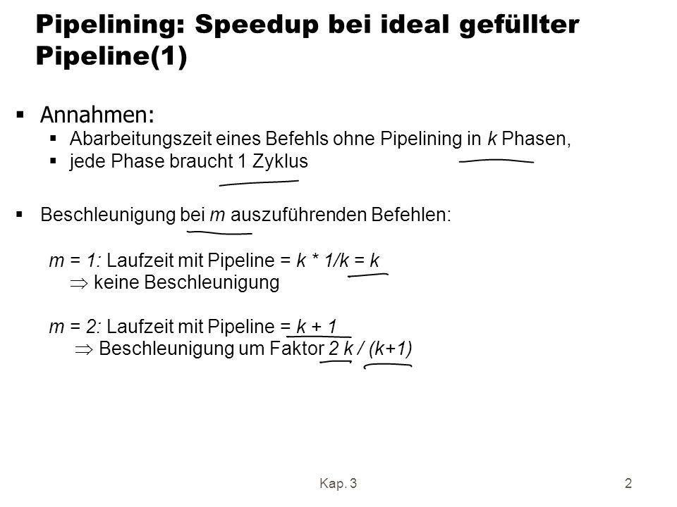 Kap. 32 Pipelining: Speedup bei ideal gefüllter Pipeline(1) Annahmen: Abarbeitungszeit eines Befehls ohne Pipelining in k Phasen, jede Phase braucht 1