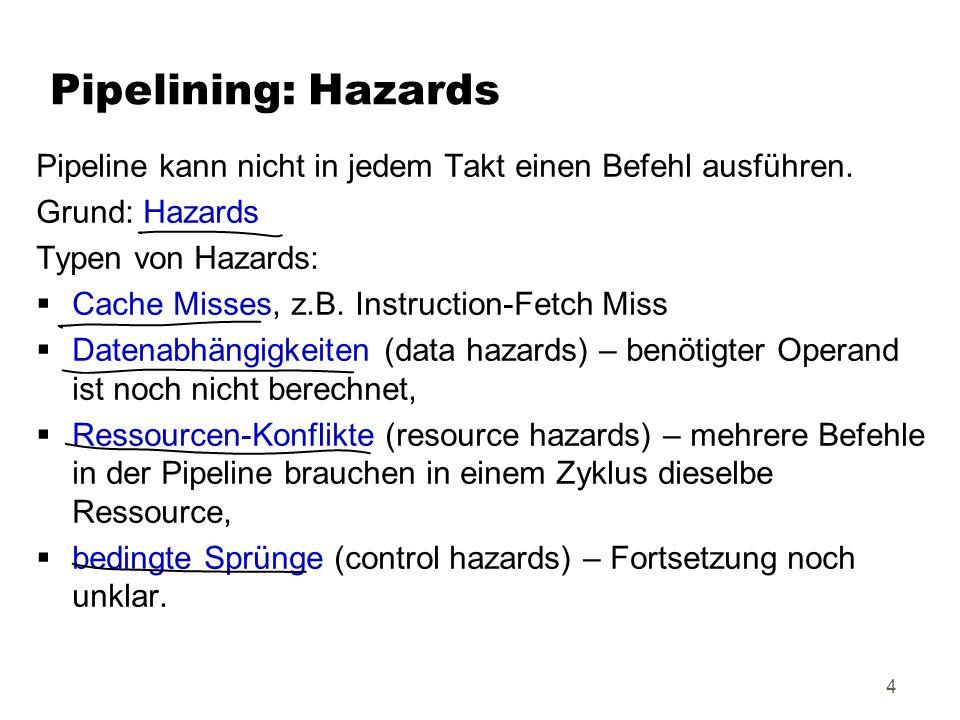 Kap.35 Pipelining: Hazards Datenabhängigkeiten (data hazards): Befehlsfolge: 1.