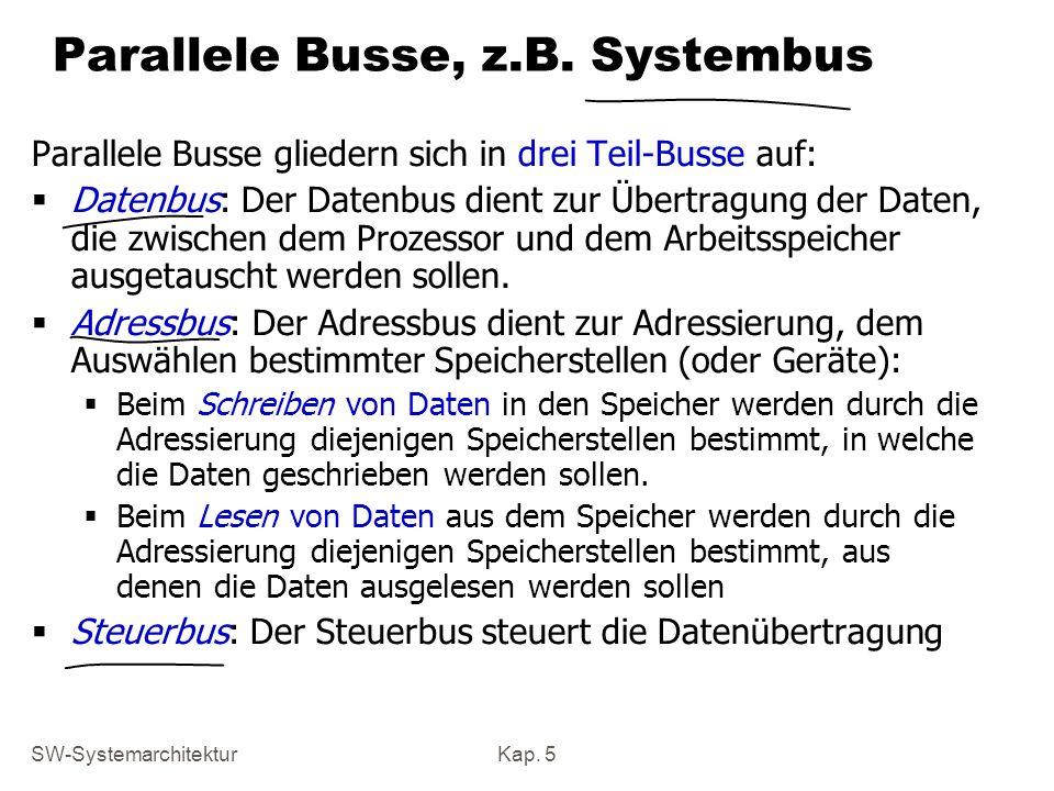 SW-SystemarchitekturKap. 5 Parallele Busse, z.B. Systembus Parallele Busse gliedern sich in drei Teil-Busse auf: Datenbus: Der Datenbus dient zur Über