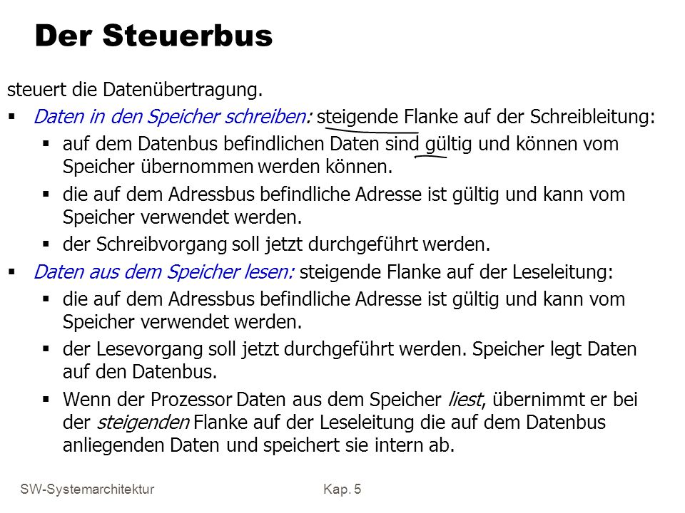 SW-SystemarchitekturKap. 5 Der Steuerbus steuert die Datenübertragung. Daten in den Speicher schreiben: steigende Flanke auf der Schreibleitung: auf d