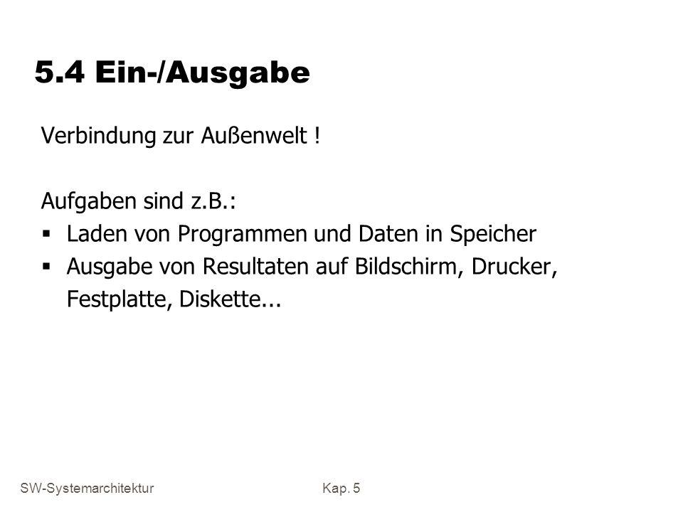 SW-SystemarchitekturKap. 5 5.4 Ein-/Ausgabe Verbindung zur Außenwelt ! Aufgaben sind z.B.: Laden von Programmen und Daten in Speicher Ausgabe von Resu