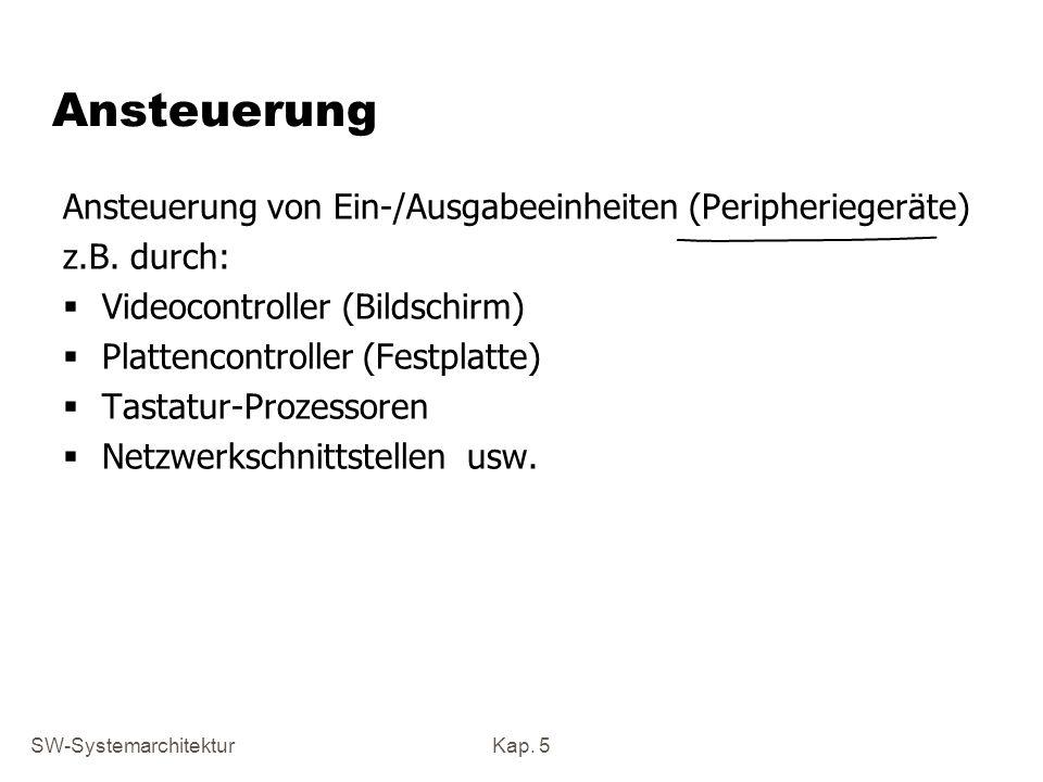 SW-SystemarchitekturKap. 5 Ansteuerung Ansteuerung von Ein-/Ausgabeeinheiten (Peripheriegeräte) z.B. durch: Videocontroller (Bildschirm) Plattencontro