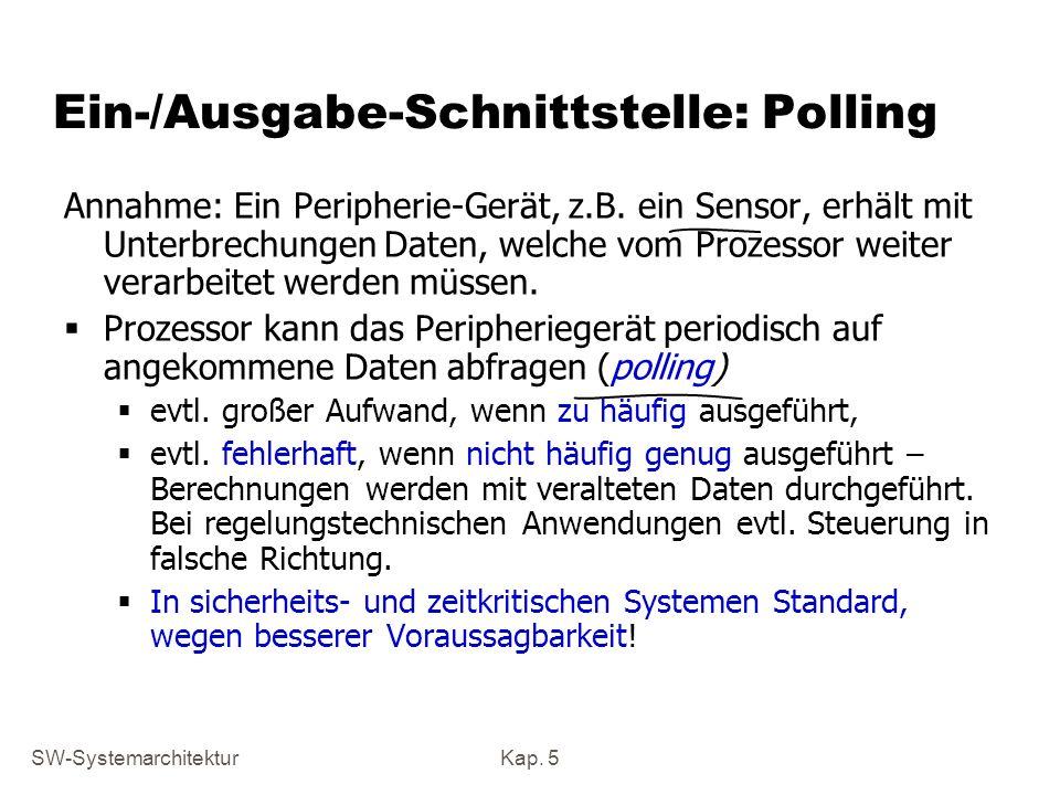 SW-SystemarchitekturKap. 5 Ein-/Ausgabe-Schnittstelle: Polling Annahme: Ein Peripherie-Gerät, z.B. ein Sensor, erhält mit Unterbrechungen Daten, welch