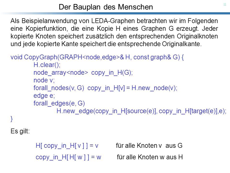 Der Bauplan des Menschen 11 Als Beispielanwendung von LEDA-Graphen betrachten wir im Folgenden eine Kopierfunktion, die eine Kopie H eines Graphen G e