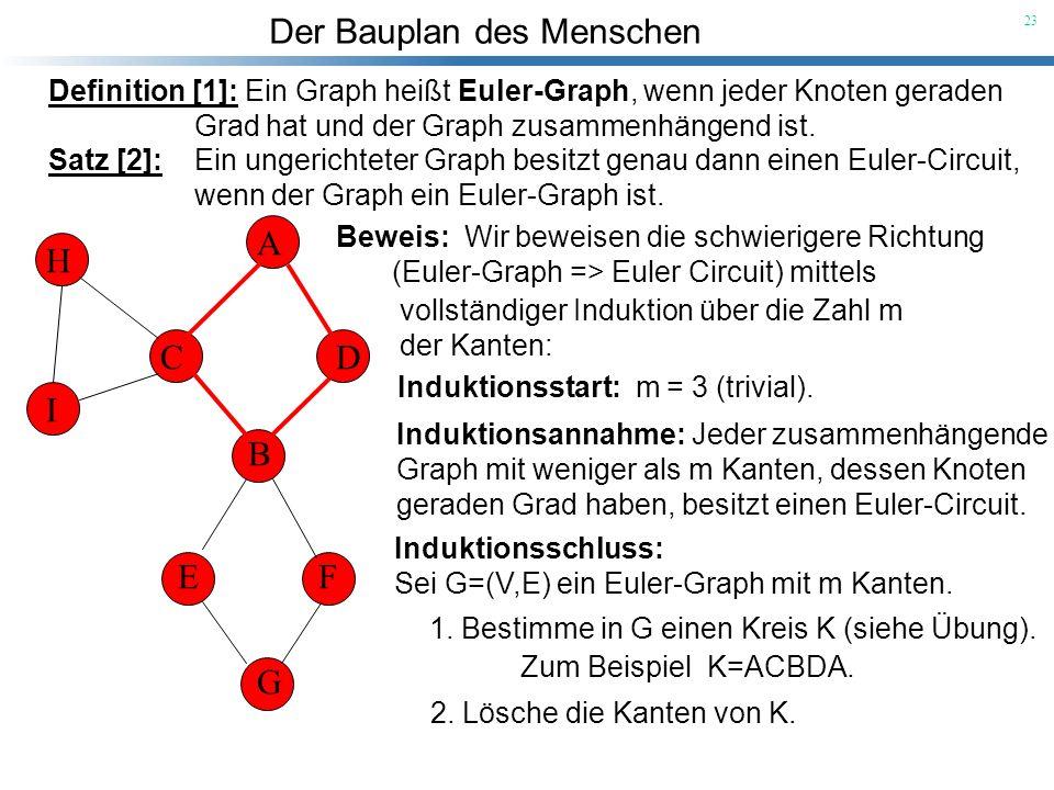 Der Bauplan des Menschen 23 Definition [1]: Ein Graph heißt Euler-Graph, wenn jeder Knoten geraden Grad hat und der Graph zusammenhängend ist. Satz [2