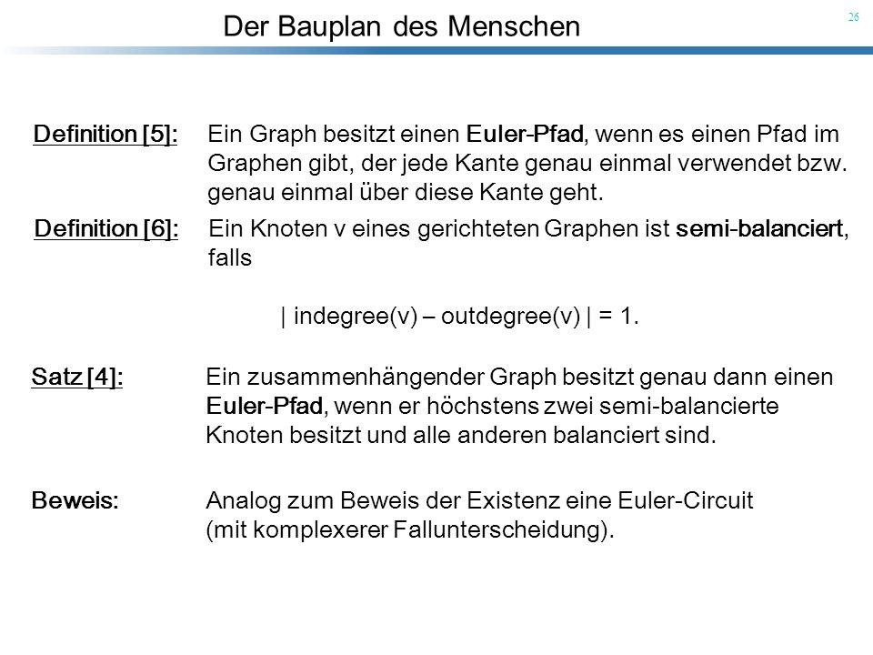 Der Bauplan des Menschen 26 Definition [5]: Ein Graph besitzt einen Euler-Pfad, wenn es einen Pfad im Graphen gibt, der jede Kante genau einmal verwen