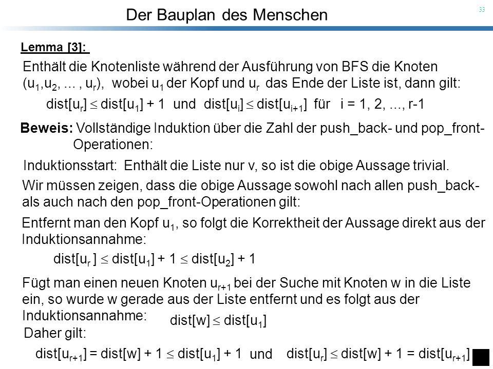Der Bauplan des Menschen 33 Enthält die Knotenliste während der Ausführung von BFS die Knoten (u 1,u 2,..., u r ), wobei u 1 der Kopf und u r das Ende