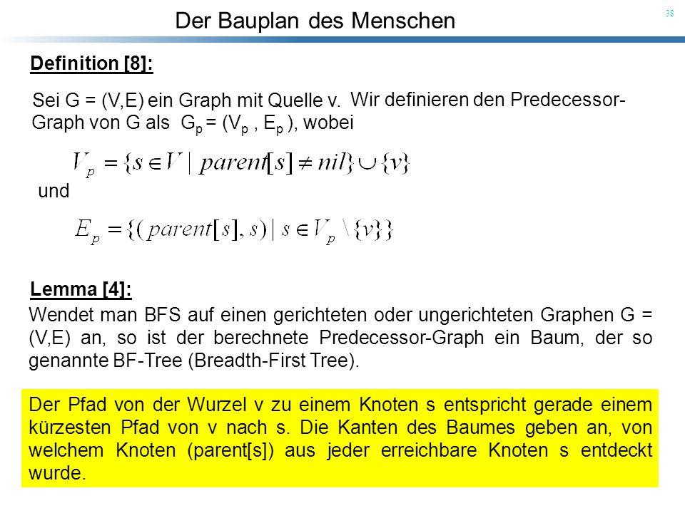 Der Bauplan des Menschen 38 Definition [8]: Sei G = (V,E) ein Graph mit Quelle v. Wir definieren den Predecessor- Graph von G als G p = (V p, E p ), w