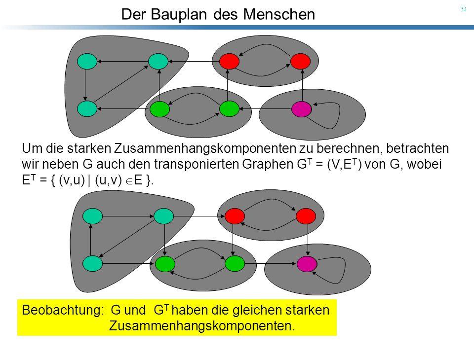 Der Bauplan des Menschen 54 Um die starken Zusammenhangskomponenten zu berechnen, betrachten wir neben G auch den transponierten Graphen G T = (V,E T