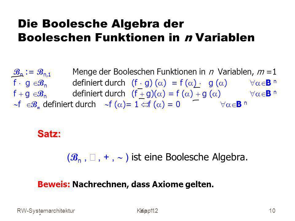RW-SystemarchitekturKap 1 Kap. 1.210 Die Boolesche Algebra der Booleschen Funktionen in n Variablen B n := B n,1 Menge der Booleschen Funktionen in n