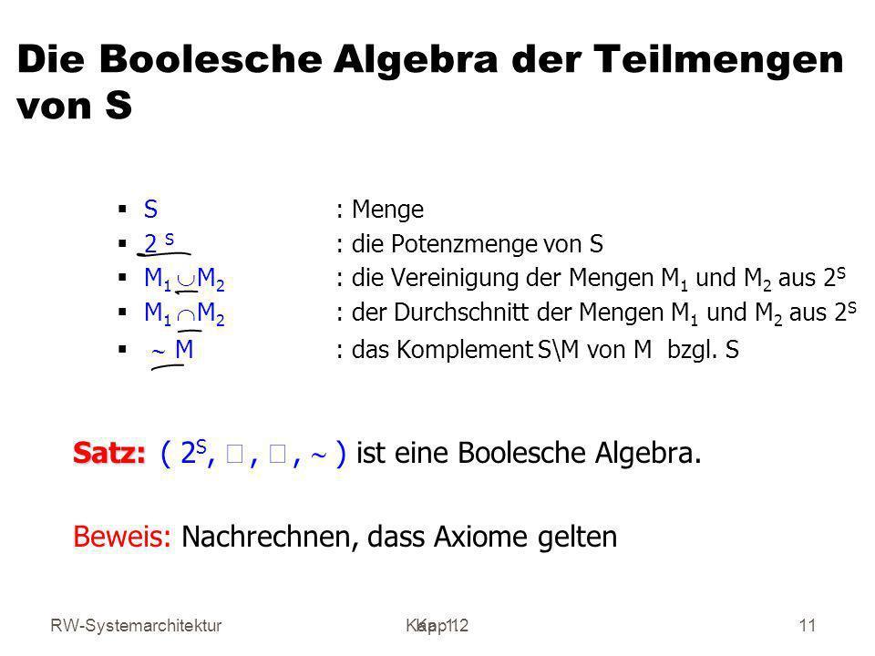 RW-SystemarchitekturKap 1 Kap. 1.211 Die Boolesche Algebra der Teilmengen von S S : Menge 2 S : die Potenzmenge von S M 1 M 2 : die Vereinigung der Me