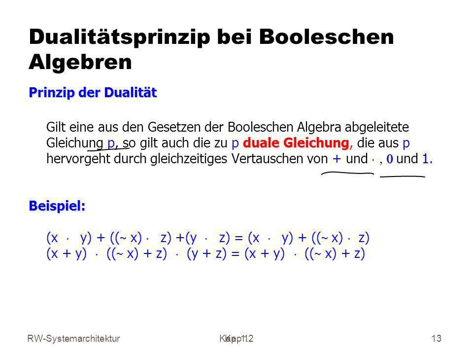 RW-SystemarchitekturKap 1 Kap. 1.213 Dualitätsprinzip bei Booleschen Algebren Prinzip der Dualität duale Gleichung 1 Gilt eine aus den Gesetzen der Bo