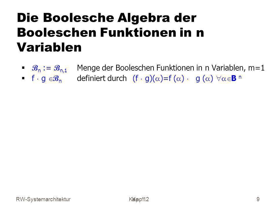 RW-SystemarchitekturKap 1 Kap. 1.29 Die Boolesche Algebra der Booleschen Funktionen in n Variablen B n := B n,1 Menge der Booleschen Funktionen in n V