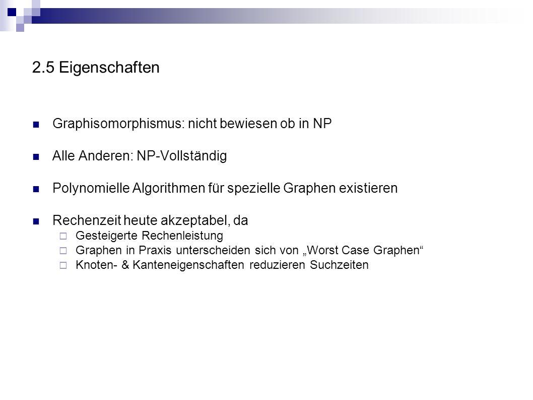 2.5 Eigenschaften Graphisomorphismus: nicht bewiesen ob in NP Alle Anderen: NP-Vollständig Polynomielle Algorithmen für spezielle Graphen existieren R