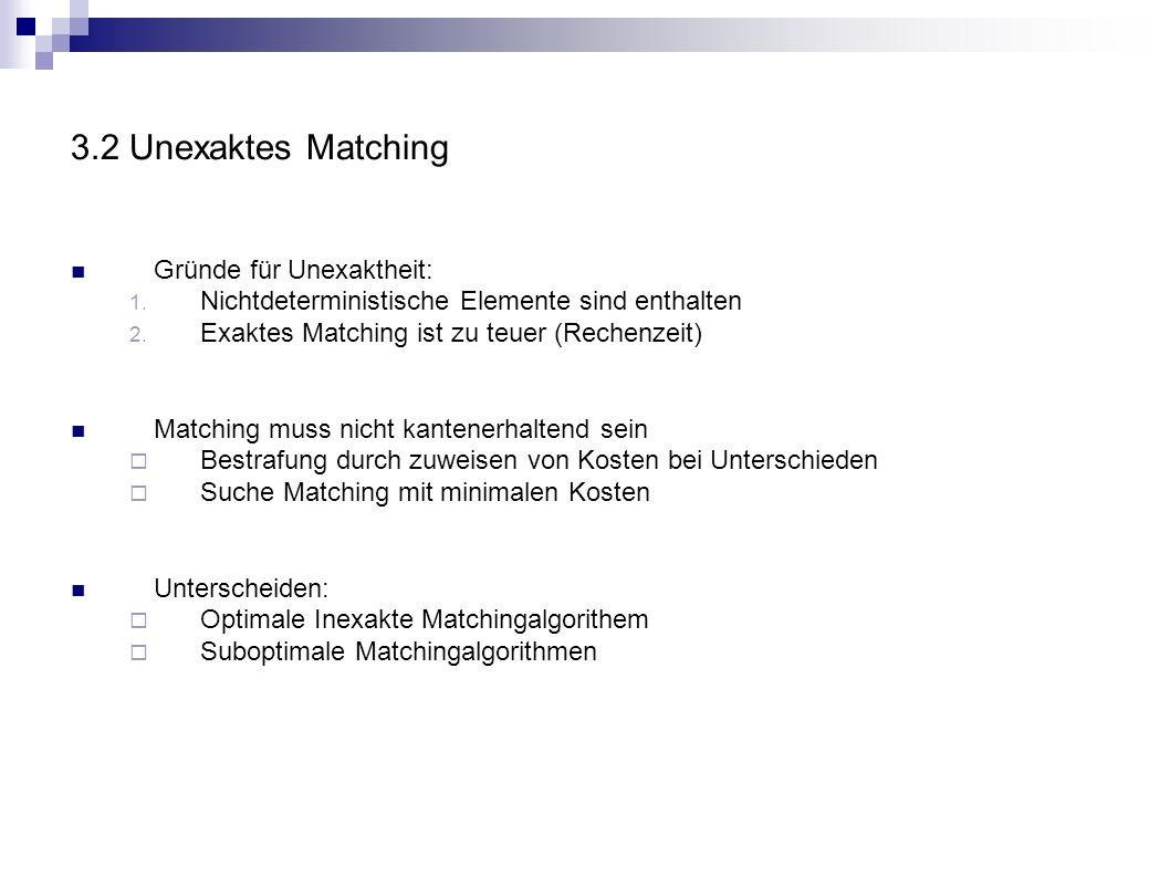 3.2 Unexaktes Matching Gründe für Unexaktheit: 1. Nichtdeterministische Elemente sind enthalten 2. Exaktes Matching ist zu teuer (Rechenzeit) Matching