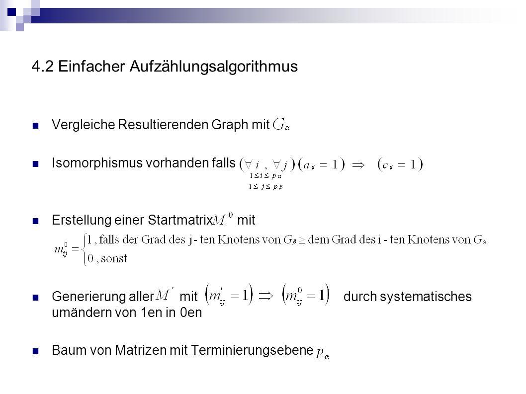 4.2 Einfacher Aufzählungsalgorithmus Vergleiche Resultierenden Graph mit Isomorphismus vorhanden falls Erstellung einer Startmatrix mit Generierung al