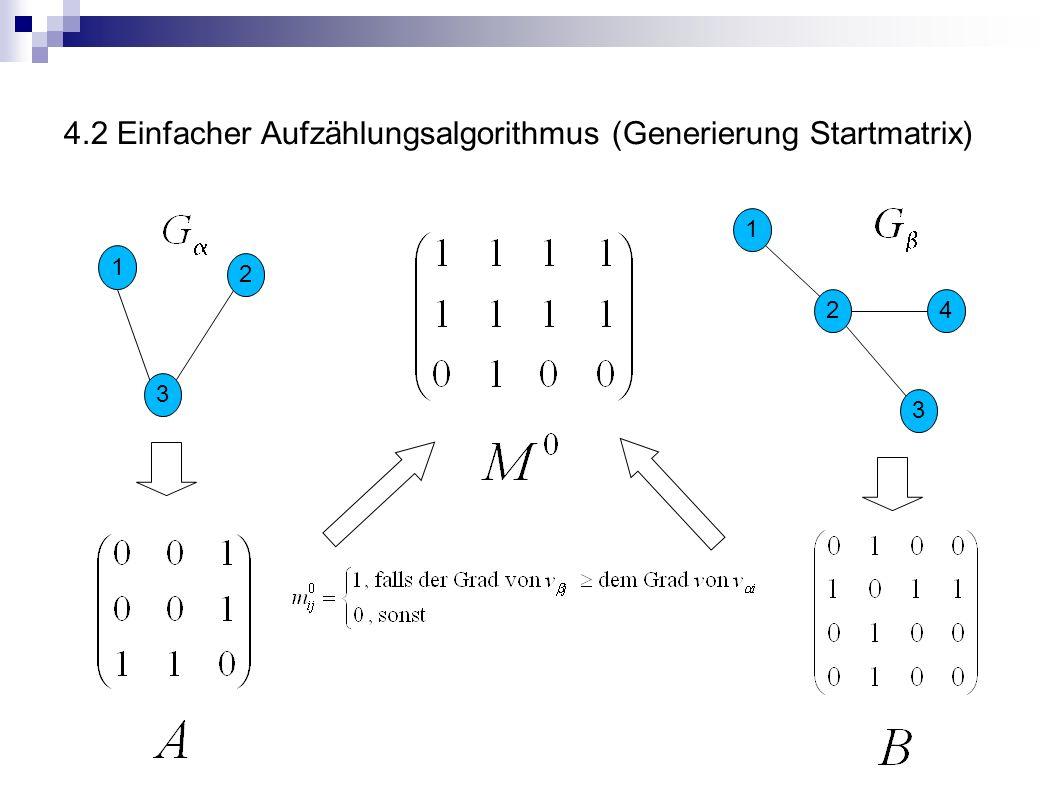 4.2 Einfacher Aufzählungsalgorithmus (Generierung Startmatrix) 1 2 3 4 2 1 3