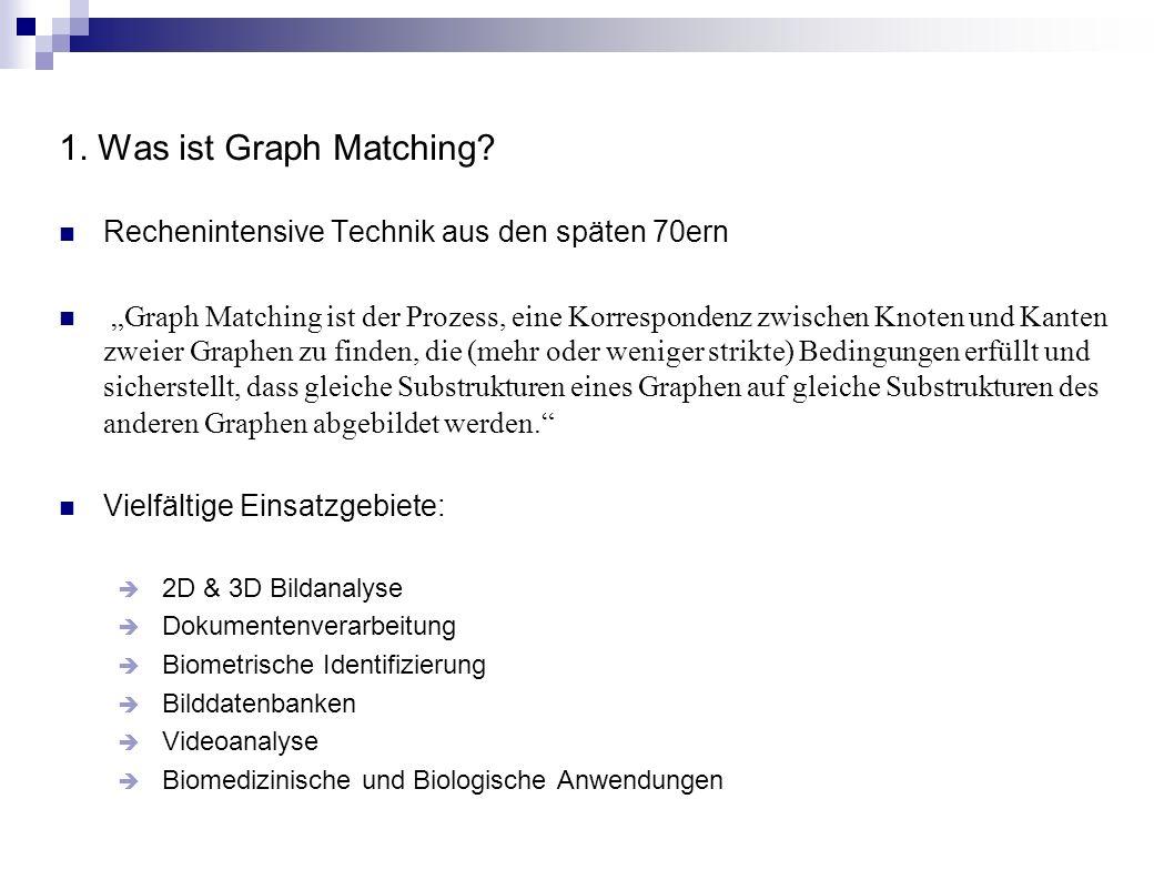 1. Was ist Graph Matching? Rechenintensive Technik aus den späten 70ern Graph Matching ist der Prozess, eine Korrespondenz zwischen Knoten und Kanten