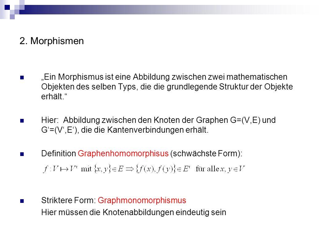2. Morphismen 1. Allgemeines 2. Graphisomorphismus 3. Subgraphisomorphismus 4. Eigenschaften
