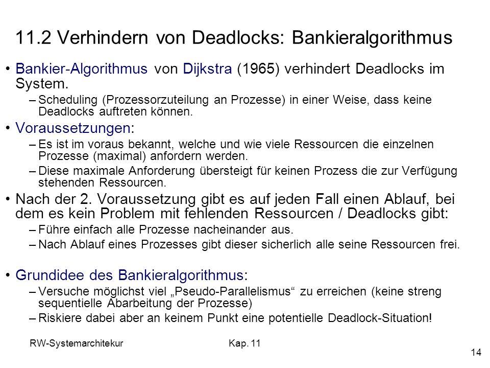 RW-SystemarchitekurKap. 11 14 11.2 Verhindern von Deadlocks: Bankieralgorithmus Bankier-Algorithmus von Dijkstra (1965) verhindert Deadlocks im System