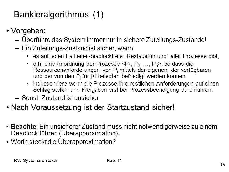 RW-SystemarchitekurKap. 11 15 Bankieralgorithmus (1) Vorgehen: –Überführe das System immer nur in sichere Zuteilungs-Zustände! –Ein Zuteilungs-Zustand