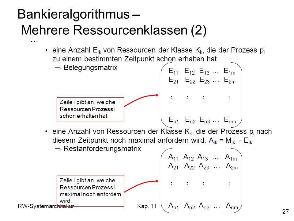RW-SystemarchitekurKap. 11 27 Bankieralgorithmus – Mehrere Ressourcenklassen (2) … eine Anzahl E ik von Ressourcen der Klasse K k, die der Prozess p i