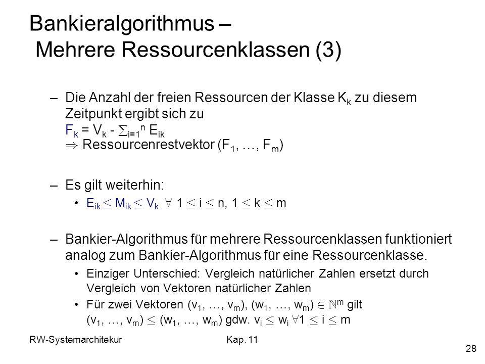 RW-SystemarchitekurKap. 11 28 Bankieralgorithmus – Mehrere Ressourcenklassen (3) –Die Anzahl der freien Ressourcen der Klasse K k zu diesem Zeitpunkt