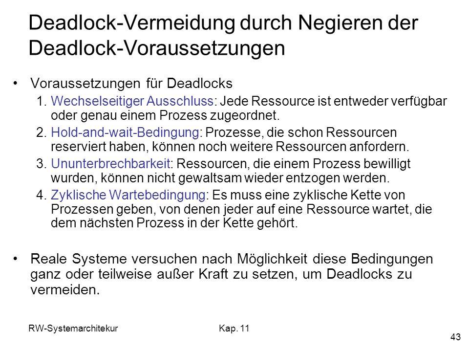 RW-SystemarchitekurKap. 11 43 Deadlock-Vermeidung durch Negieren der Deadlock-Voraussetzungen Voraussetzungen für Deadlocks 1.Wechselseitiger Ausschlu