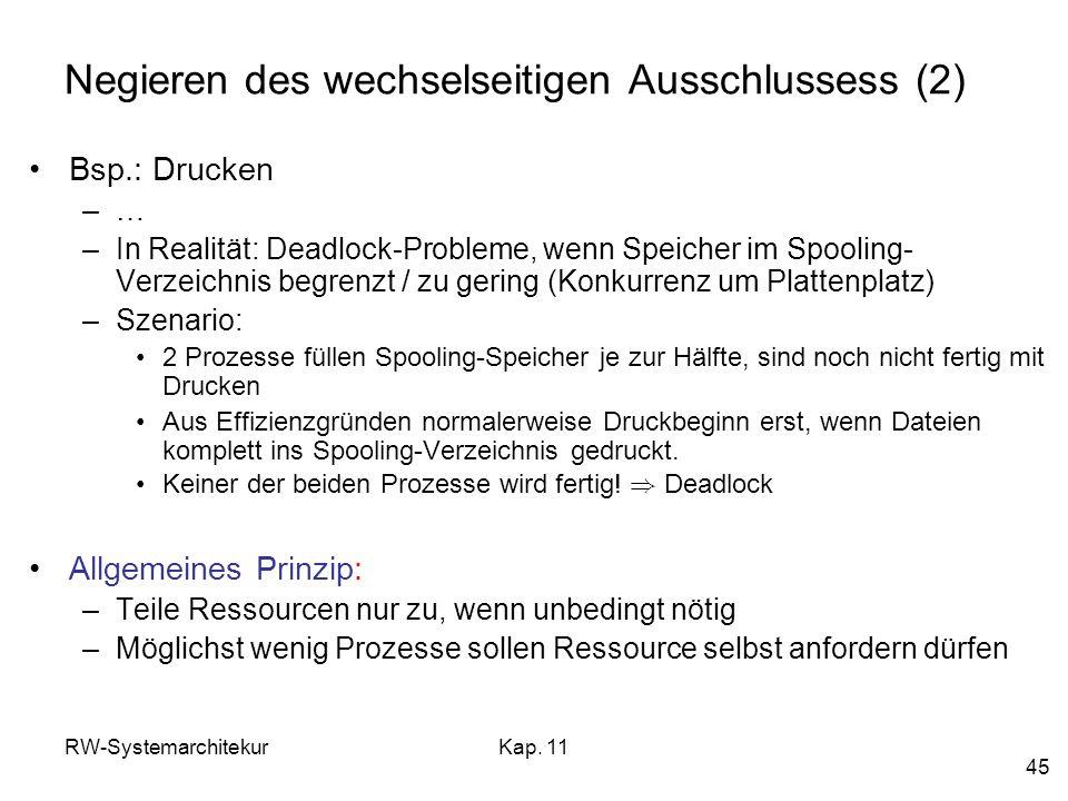 RW-SystemarchitekurKap. 11 45 Negieren des wechselseitigen Ausschlussess (2) Bsp.: Drucken –… –In Realität: Deadlock-Probleme, wenn Speicher im Spooli