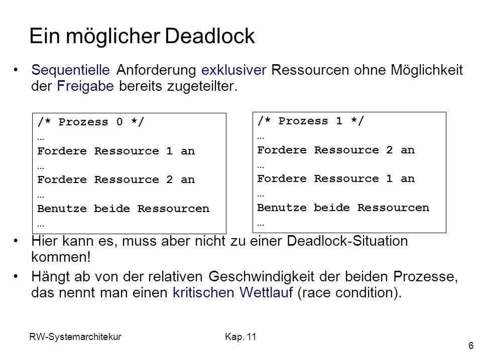 RW-SystemarchitekurKap. 11 6 Ein möglicher Deadlock Sequentielle Anforderung exklusiver Ressourcen ohne Möglichkeit der Freigabe bereits zugeteilter.