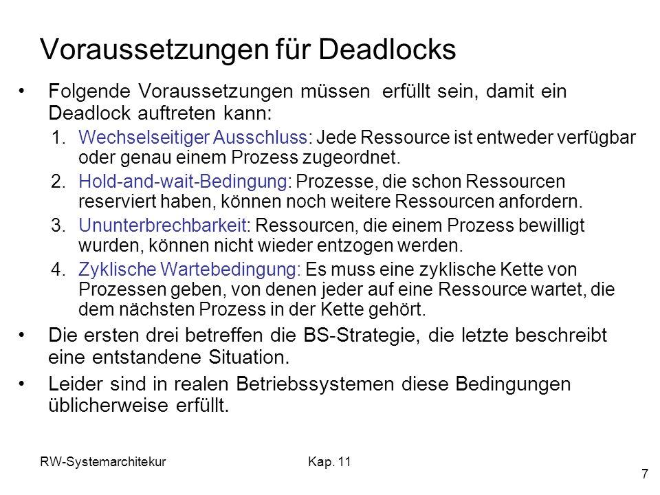 RW-SystemarchitekurKap. 11 7 Voraussetzungen für Deadlocks Folgende Voraussetzungen müssen erfüllt sein, damit ein Deadlock auftreten kann: 1.Wechsels