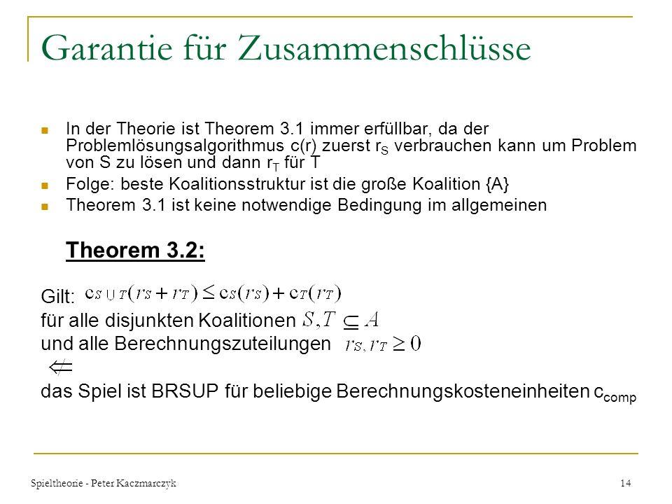Spieltheorie - Peter Kaczmarczyk 13 Garantie für Zusammenschlüsse Hilfe bietet Theorem 3.1, dass eine hinreichende Bedingung darstellt, die garantiert