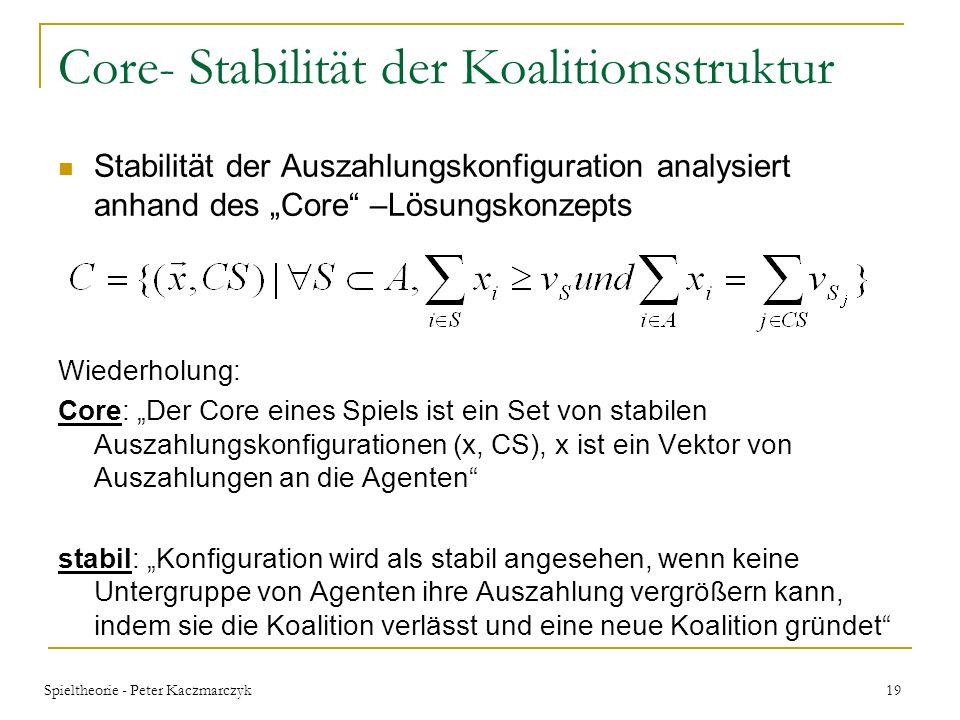 Spieltheorie - Peter Kaczmarczyk 18 Beispiel v U (c comp )= min r U [c S (r U ) + c comp * r U ] Wenn z.B. Kosten bei Koalitionsbildung entstehen, die