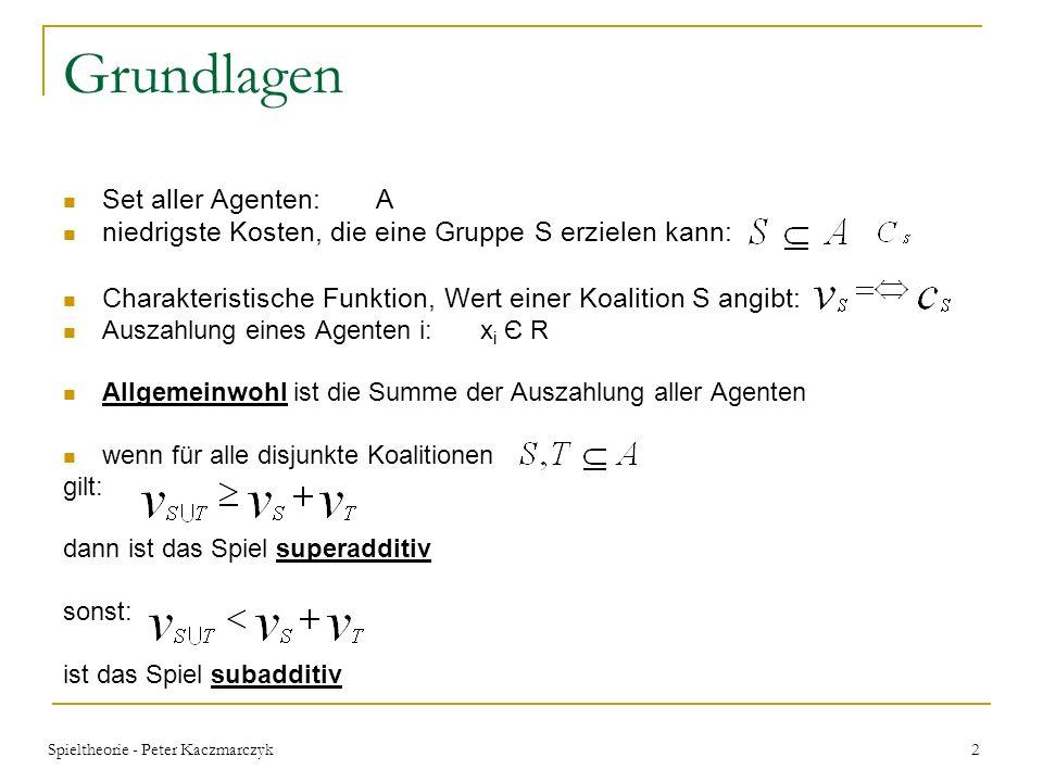 Spieltheorie - Peter Kaczmarczyk 22 Definitionen Seien B 1,…,B p verschiedene, nicht leere Teilmengen von A.