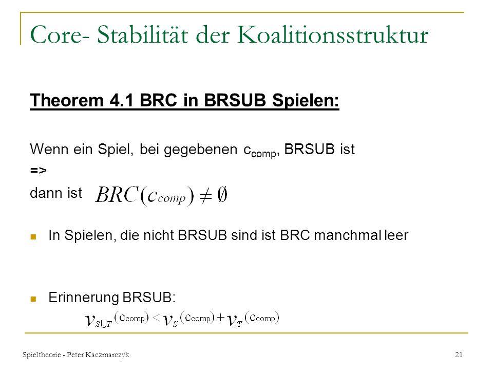 Spieltheorie - Peter Kaczmarczyk 20 Core- Stabilität der Koalitionsstruktur beschränkt rationale Core (BRC) bei Berechnungskosteneinheiten c comp ist