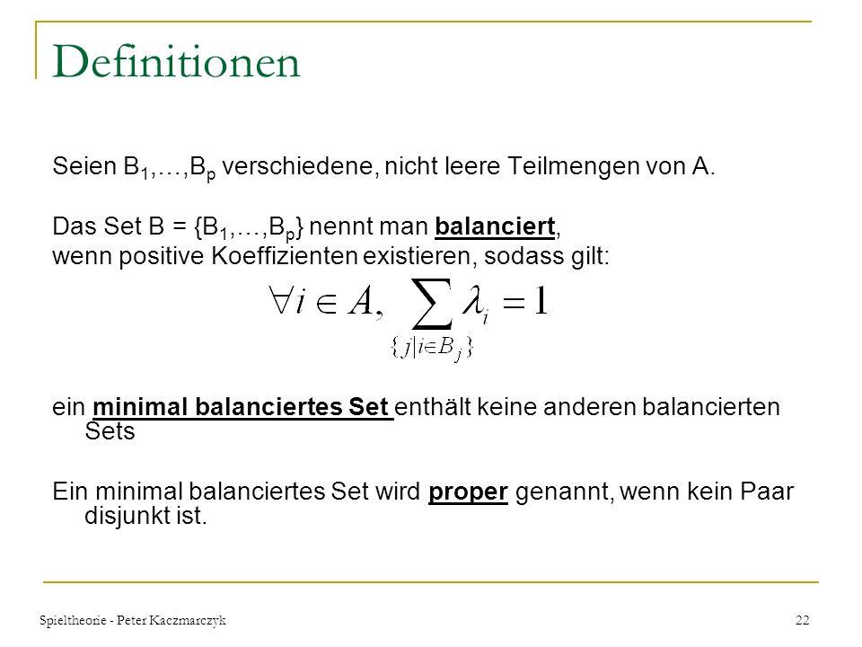 Spieltheorie - Peter Kaczmarczyk 21 Core- Stabilität der Koalitionsstruktur Theorem 4.1 BRC in BRSUB Spielen: Wenn ein Spiel, bei gegebenen c comp, BR