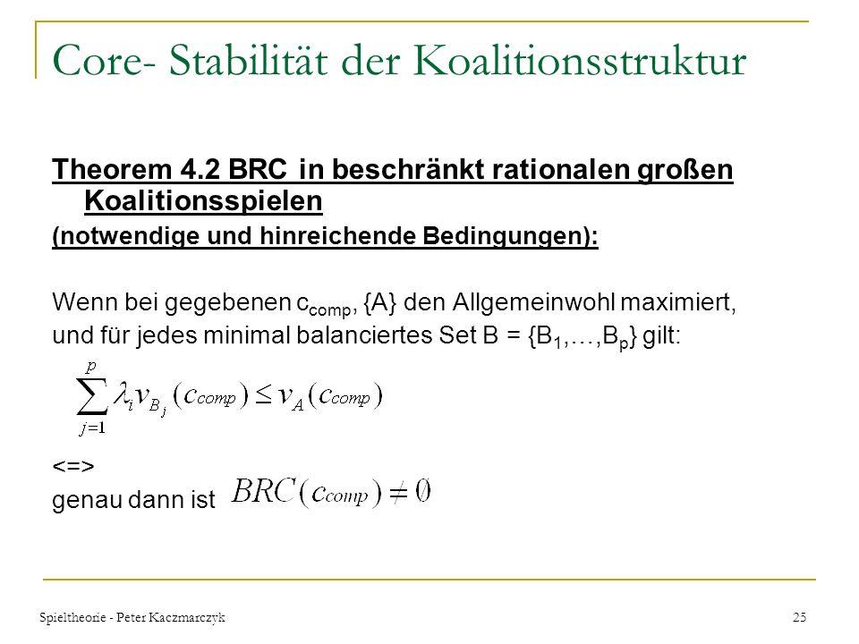 Spieltheorie - Peter Kaczmarczyk 24 Core- Stabilität der Koalitionsstruktur Theorem 4.3 BRC in BRSUP Spielen (notwendige und hinreichende Bedingungen)