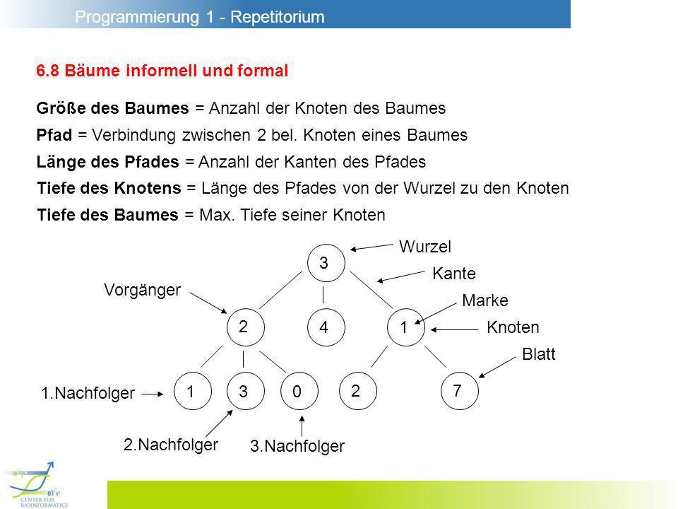 Programmierung 1 - Repetitorium 6.8 Bäume informell und formal Größe des Baumes = Anzahl der Knoten des Baumes Pfad = Verbindung zwischen 2 bel. Knote