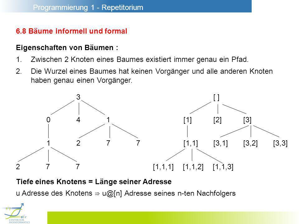 Programmierung 1 - Repetitorium 6.8 Bäume informell und formal Eigenschaften von Bäumen : 1.Zwischen 2 Knoten eines Baumes existiert immer genau ein Pfad.