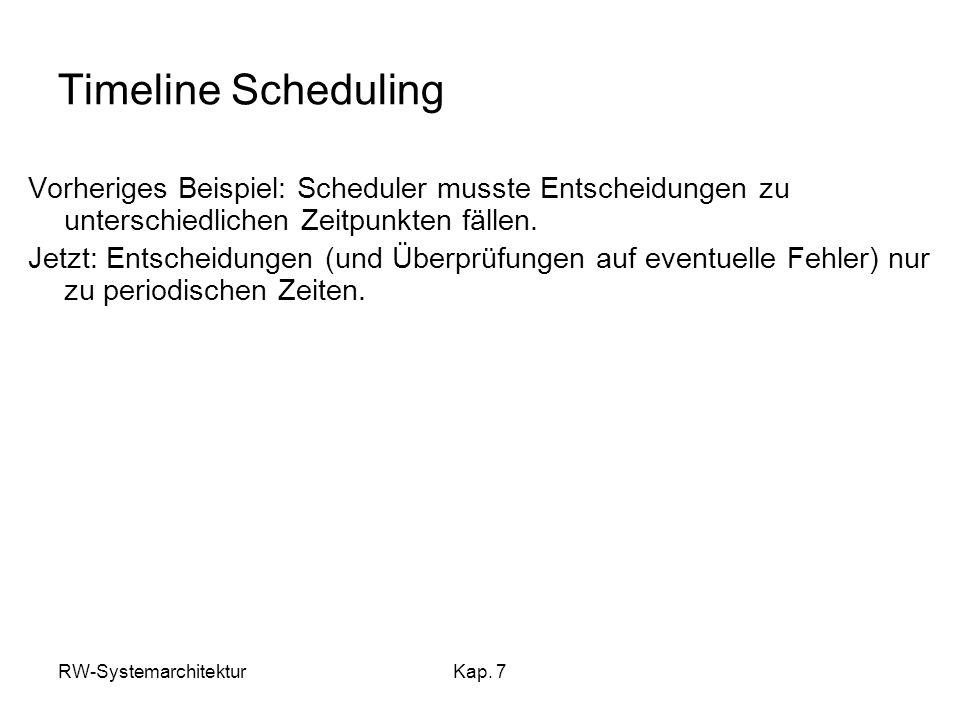 RW-SystemarchitekturKap. 7 Timeline Scheduling Vorheriges Beispiel: Scheduler musste Entscheidungen zu unterschiedlichen Zeitpunkten fällen. Jetzt: En