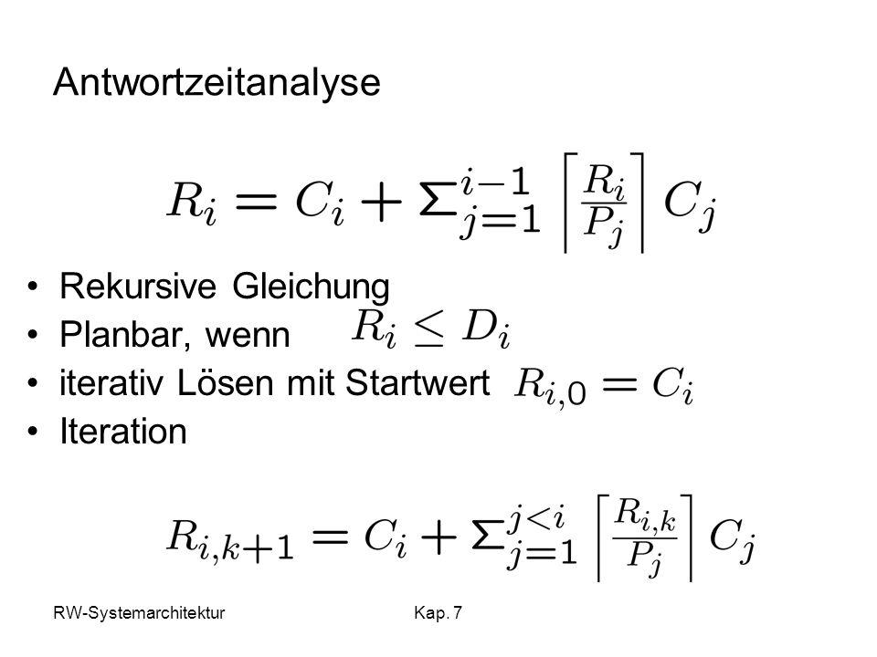 RW-SystemarchitekturKap. 7 Antwortzeitanalyse Rekursive Gleichung Planbar, wenn iterativ Lösen mit Startwert Iteration