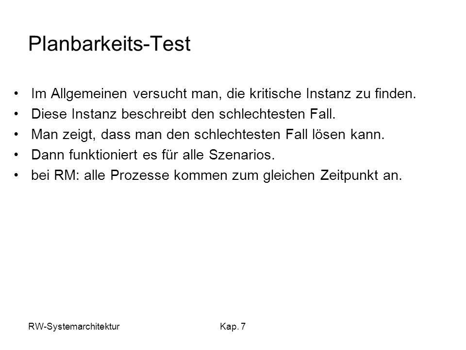 RW-SystemarchitekturKap. 7 Planbarkeits-Test Im Allgemeinen versucht man, die kritische Instanz zu finden. Diese Instanz beschreibt den schlechtesten