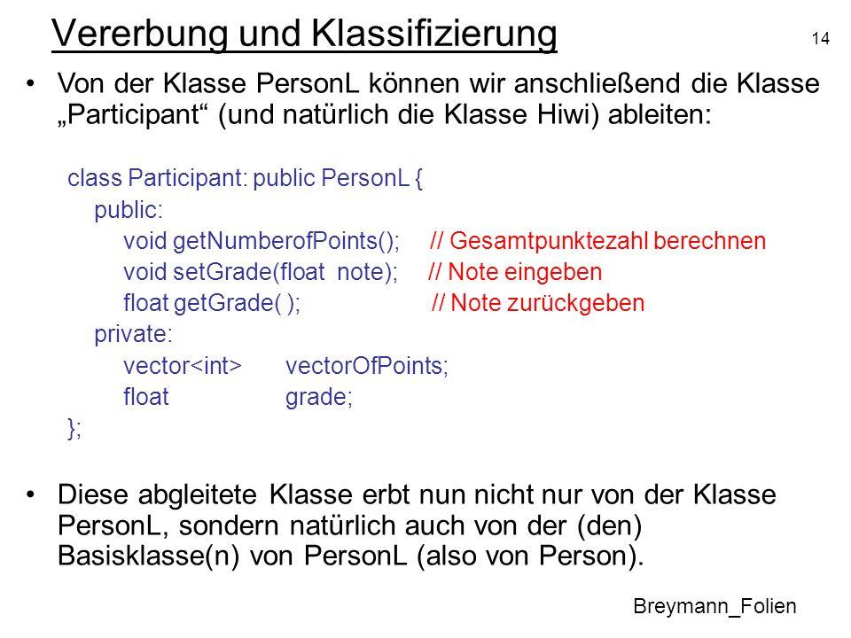 14 Vererbung und Klassifizierung Breymann_Folien Von der Klasse PersonL können wir anschließend die Klasse Participant (und natürlich die Klasse Hiwi) ableiten: class Participant: public PersonL { public: void getNumberofPoints(); // Gesamtpunktezahl berechnen void setGrade(float note); // Note eingeben float getGrade( ); // Note zurückgeben private: vector vectorOfPoints; float grade; }; Diese abgleitete Klasse erbt nun nicht nur von der Klasse PersonL, sondern natürlich auch von der (den) Basisklasse(n) von PersonL (also von Person).