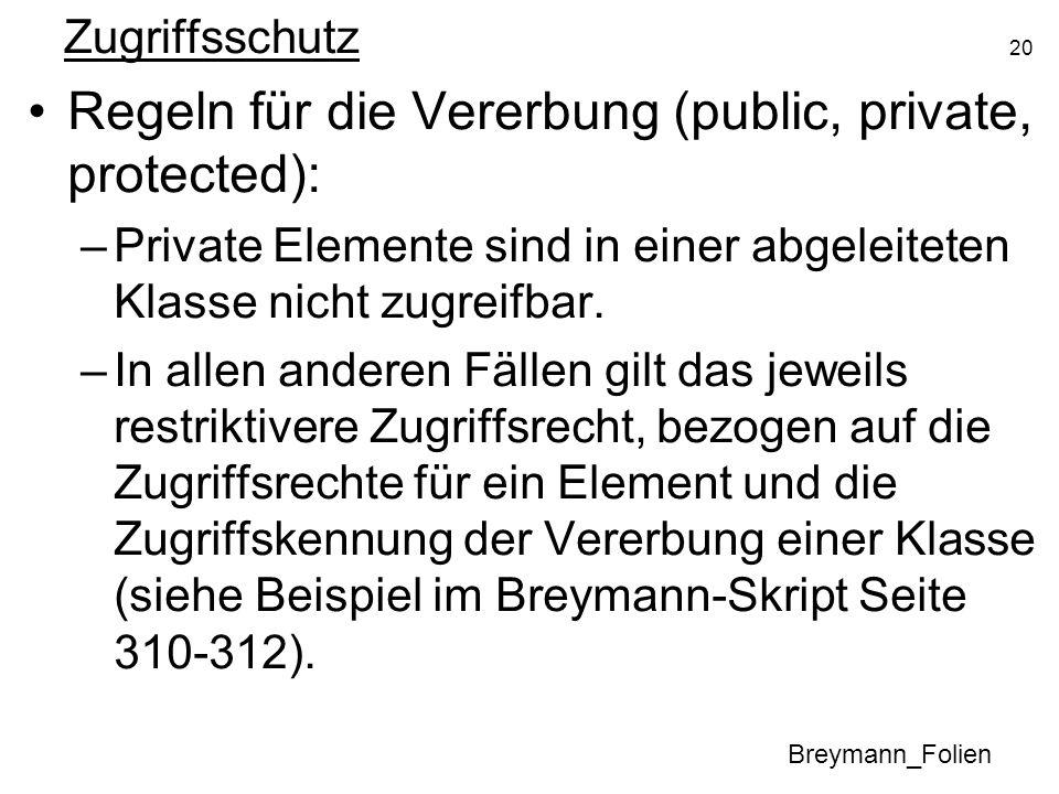 20 Zugriffsschutz Regeln für die Vererbung (public, private, protected): –Private Elemente sind in einer abgeleiteten Klasse nicht zugreifbar. –In all